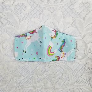 Reversible Cotton Unicorn Rainbow kids face mask